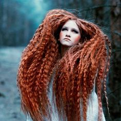 Autumn Blaze Fairy - hair ideas, auburn dreadlocks - and lots of 'em! High Fashion Hair, Fairy Hair, Avant Garde Hair, Crimped Hair, Extreme Hair, Fantasy Hair, Wild Hair, Portraits, Hair Art