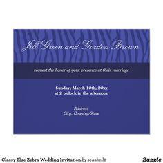 Classy Blue Zebra Wedding Invitation