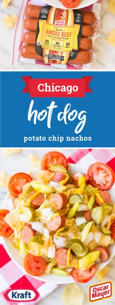 Chicago Hot Dog Potato Chip Nachos – This delicious combination of OSCAR MAYER Hot Dogs—now made with NO artificial preservatives colors or flavors, no added nitrites or nitrates (except those naturally occurring in celery juice), & NO fillers or by-products—potato chips, HEINZ Yellow Mustard, pickle relish, & hot peppers is the perfect balance of summer flavors. Try out this shareable dish at your next party for a truly tasty appetizer. Find all you need to make this recipe at Walmart.