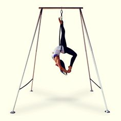 X-Pole's A Frame for Lyra & silks, beautifully engineered! Seen here with our aerial hoop range. #xpole