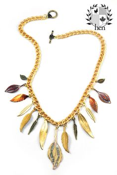 Falling Leaves Necklace by henbygen on Etsy, $64.00
