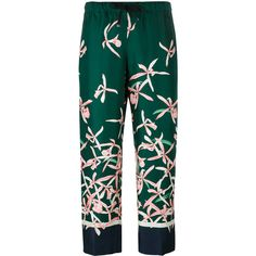 Moncler floral print trousers ($765) ❤ liked on Polyvore featuring pants, capris, trousers, green, cropped capri pants, silk cropped pants, moncler, floral print pants and loose fit pants