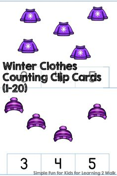 Can you believe its winter already? If you are looking for a set of free printable winter counting activities, these winter clothes clip cards are perfect! #freeprintablewintercountingactivities Winter Activities For Kids, Counting Activities, Preschool Activities, Preschool Winter, Winter Kids, Writing Activities, Free Printable Math Worksheets, Worksheets For Kids, Free Printables