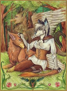 Watercolor painting of my original characters in fantasy scenery, including two red griffins. Find me on furaffinity- snowsnow11, deviantart- snowsnow11