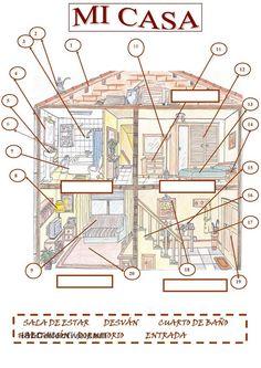 Mi casa: Hoja de trabajo para practicar el léxico de la casa