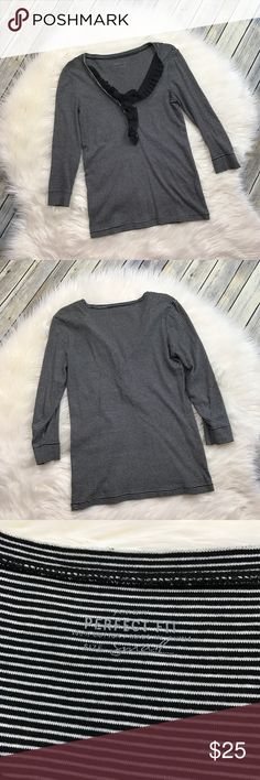 """J. Crew Perfect Fit Stripe Ruffle Henley Black Very cute black and white horizontally striped henley tee. Long sleeves. Ruffles around the neckline. Gently used with no flaws. Style 34964. 100% cotton.   Measurements laying flat (without stretching)— Armpit to armpit: 18""""  Length, shoulder to hem: 25"""" J. Crew Tops"""