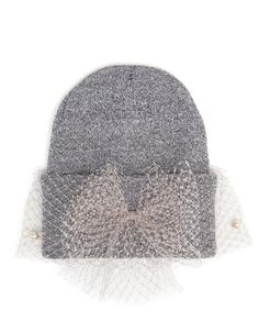 SILVER SPOON ATTIRE | Beanie Hat with Pearl Veil