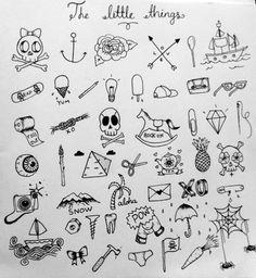 Tiny little tattoos. Diamond skull rose boat bones needles tea. Justina Bisset