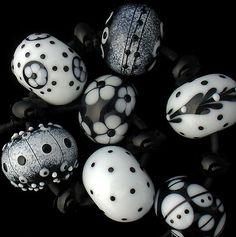 DSG Beads Handmade Organic Lampwork Glass Black and White | eBay