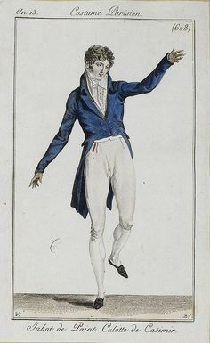 A smart dancing outfit. Costume parisien, an 13 1800s Fashion, 19th Century Fashion, Timeless Fashion, Vintage Fashion, Men's Fashion, Mode Masculine, Napoleon, Jean Délavé, Regency Era
