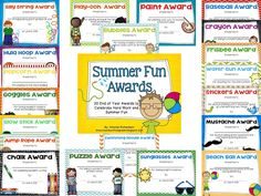 Mrs. Richardsons Class: Summer Fun Awards to celebrate Hard Work and Summer Fun!
