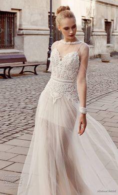miriams bride 2018 bridal long sleeves illusion jewel sweetheart neckline heavily embellished bodice romantic soft a line wedding dress (2) mv -- Miriams Bride 2018 Wedding Dresses
