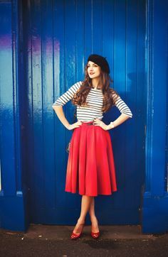 Look of the Day by Galina Thomas. French black Beret, red midi skirt