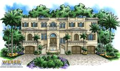 California Home Plan: Spanish Inspired 3 Story Luxury Home Plan