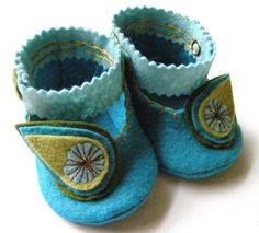 Pretty as a Peacock  Baby Booties Baby Shoes by ShesSoCraftyGoods1, $25.50