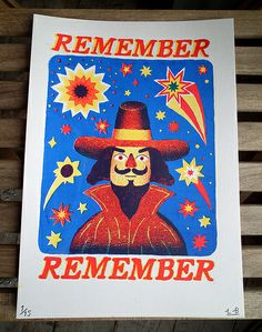 Guy Fawkes by Liam Barrett (screen print) #bonfire #night #treat #savory #November #home #party #family #yourhomemagazine Bonfire Night Guy Fawkes, Guy Fawkes Night, Bonfire Night Treats, Vintage Fireworks, The Fifth Of November, World Cultures, Screen Printing, Guys, English Village