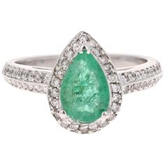1.52 Carat Emerald Diamond 14 Karat White Gold Engagement Ring For Sale at 1stDibs Pear Cut Engagement Rings, Vintage Engagement Rings, Emerald Diamond, Diamond Cuts, Colin Mcrae, Contemporary Engagement Rings, White Gold, Band, 9 Mm