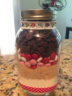 A personal favorite from my Etsy shop https://www.etsy.com/listing/540679729/gormet-mm-big-cookie-mix-in-a-mason-jar