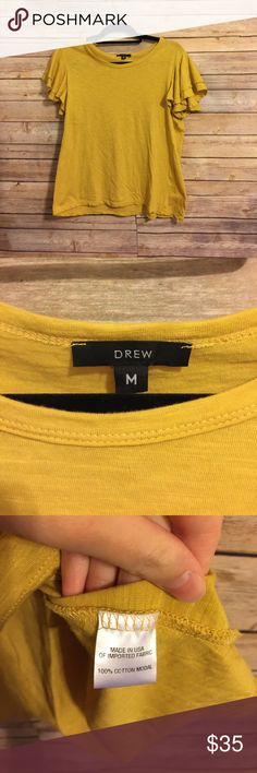 Drew mustard yellow ruffled sleeved M Great condition no stains no wear! Item 102 DREW Tops Tees - Short Sleeve
