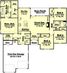 Plan 430-75  2175 sq ft  4 beds  2.50 baths  64' wide  69' deep