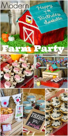 Here's a fun modern spin on a farm birthday party for a 7-year-old girl! Love the barn cake! See more party ideas at CatchMyParty.com