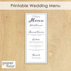 Printable Wedding Menu Modern Style Custom Colors by PaperHour