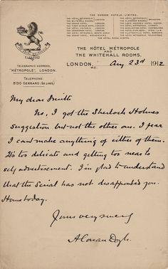Letter from Arthur Conan Doyle to Herbert Greenhough Smith august Handwriting Styles, Calligraphy Handwriting, Penmanship, Detective Aesthetic, Old Letters, Arthur Conan Doyle, Handwritten Letters, Vintage Scrapbook, Scrapbook Journal