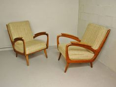 Set of 2 lounge chairs. Matching sofa available as well. Wool fabric, wooden frame. All is in a great condition. True fifties.
