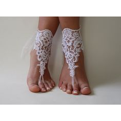 White Lace Barefoot Sandals, Wedding Anklet,NudeShoes, Foot... ($23) via Polyvore featuring shoes, sandals, beach anklets, white bridal sandals, white lace sandals, white shoes ve lace anklets
