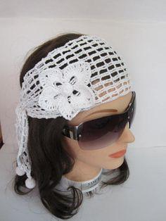 White Lace Headband White Crochet Summer Headband by MILAVIKIDS
