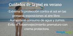 Durante los meses de #verano, la piel está expuesta a un sol intenso, por eso necesita unos cuidados específicos funamentales, para evitar sufrir quemaduras o la aparición de un cáncer de piel. #verano #piel #cuidados #salud #sano #alimentación