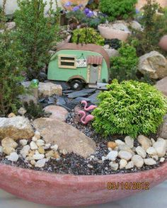 The variety of miniature plants in this miniature garden is really elaborate. An overgrown cemetery with wonderful bonsai trees. Beautiful miniature garden in a tree stump for a pod. Fairy Garden Plants, Mini Fairy Garden, Fairy Garden Houses, Garden Terrarium, Gnome Garden, Succulents Garden, Garden Soil, Garden Wagon, Garden Bed