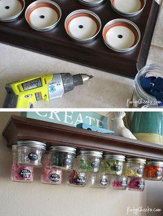 Use Mason Jars for under shelf storage. Perfect for a craft room! Mason Jars, Mason Jar Storage, Mason Jar Shelf, Kilner Jars, Mason Jar Projects, Mason Jar Crafts, Craft Organization, Craft Storage, Spice Storage