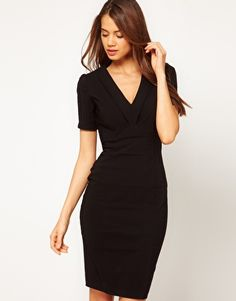 Hybrid Slash Low Neck Pencil Dress
