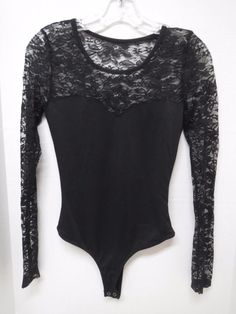 Charlotte Russe Black Lace Upper Sleeves Top Bodysuit Sz S Small New NWT  #CharlotteRusse #Bodysuit