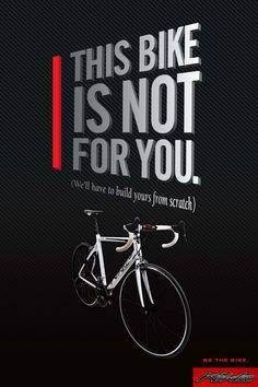 Designed to show the uniqueness a KirkLee custom bicycle is when we build one for you. Our goal is to build the bike around you and we think these posters reflect that. Graphic Design Inspiration, Creative Director, Are You The One, Advertising, Branding, Bike, Bicycles, Goal, Cycling