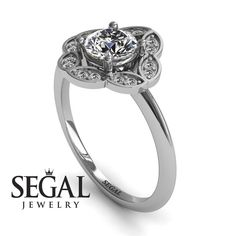 Princess Ring Diamond Ring- Lucy no. 3 White Gold Engagement Ring by Segal JewelryWhite Gold Engagement Ring by Segal Jewelry Unique Diamond Engagement Rings, Classic Engagement Rings, Deco Engagement Ring, Antique Engagement Rings, Antique Rings, Engagement Gifts, Diamond Rings, Diamond Jewelry, Diamond Flower
