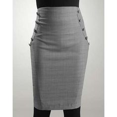 high-waisted pencil skirt with decorative side buttons Grey Pencil Skirt, High Waisted Pencil Skirt, Pencil Skirts, Fashion 101, High Fashion, Fashion Outfits, A Line Skirts, Midi Skirts, Sewing Clothes