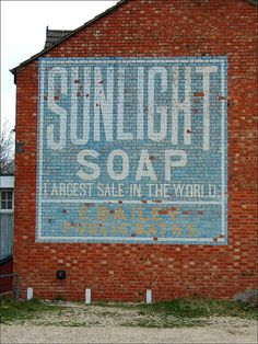 Sunlight Soap ghost sign uncovered at Bletchley & Fenny Stratford, Milton Keynes, UK after the demolition of the building next door