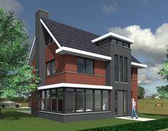 Woning Amersfoort BONGERS architecten bnaBONGERS architecten bna Gable Roof Design, May House, Sims 4 Houses, Architect House, House Roof, House Plans, New Homes, Villa, House Design