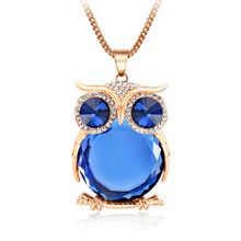 Owl Necklace Fashion Rhinestone Crystal Jewelry