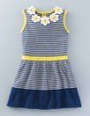 Crochet Flower Knitted Dress. Love the white and blue stripes and the yellow accent. For Hannah