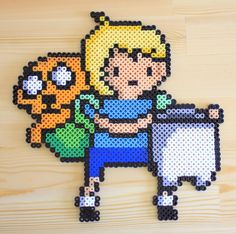 Perler fuse bead Finn and Jake from Adventure Time by PkmnMasterTash/pkmnmastertash-creations/Natasha Lazaravich