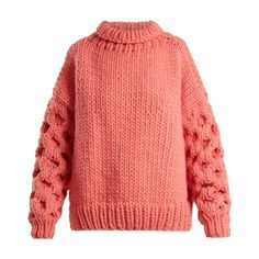 I Love Mr Mittens Honey roll-neck wool sweater (1,790 MYR) ❤ liked on Polyvore featuring tops, sweaters, pink, woolen sweater, sleeve top, roll-neck sweaters, knitwear sweater and honey comb