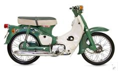 The Honda Super Cub is a small lightweight motorcycle that has sold in huge numbers since its launch in It surpassed 87 million last year making it the most produced motor vehicle in history. Honda Motorbikes, Honda Scooters, Honda Bikes, Motor Scooters, Motor Vehicle, Vintage Honda Motorcycles, Small Motorcycles, Triumph Motorcycles, Honda Cub