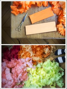 love these DIY streamers  Crepe paper  Party decorations