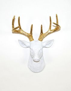Faux Deer Mount - The MINI Alfred - White w/Gold Antlers Resin Deer Head- Stag Resin White Faux Taxidermy- Chic & Trendy from WhiteFauxTaxidermy on Etsy.