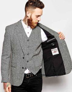 Image 3 ofASOS Slim Fit Blazer In Harris Tweed Fabric