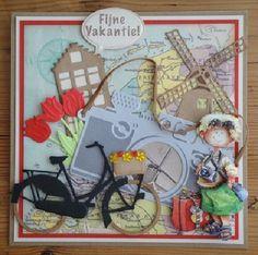 "Voorbeelden `t Hobby Hoekje ""De Linge"" Abraham And Sarah, 3d Cards, Die Cut Cards, Marianne Design, Craft Materials, Travel Scrapbook, Windmill, Cardmaking, Holland"