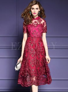 Shop for high quality Elegant Embroidered Stand Collar Short Sleeve Skater Dress online at cheap prices and discover fashion at Ezpopsy.com